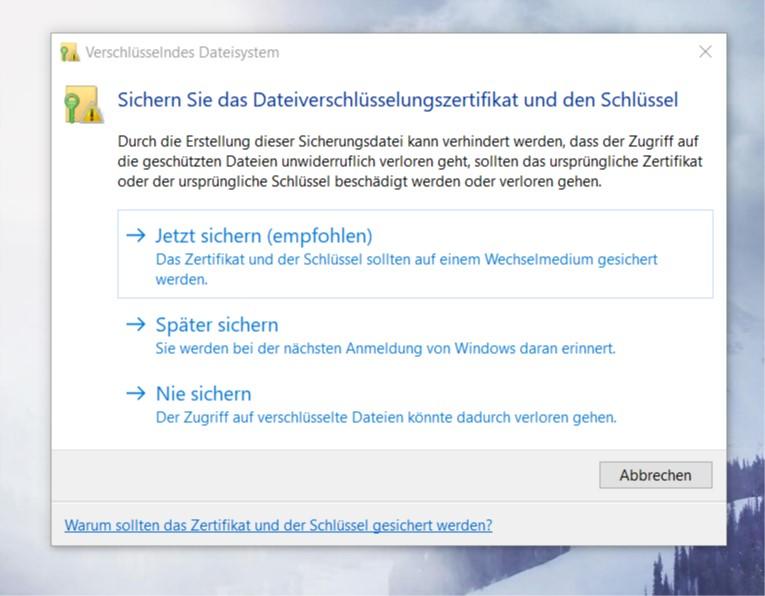 "Meldung: ""EFS UI Application sichern"""