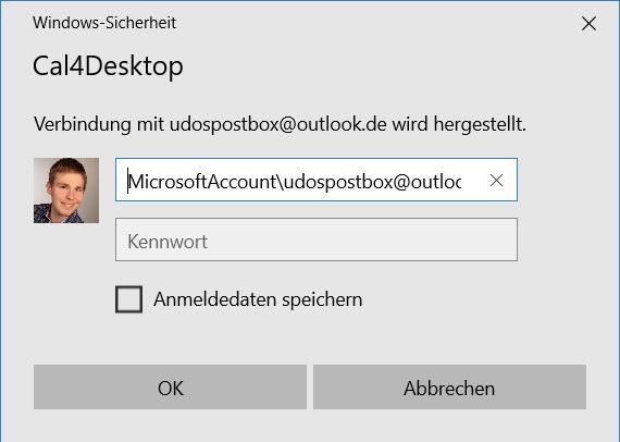 Cal4Desktop blendet ständig Outlook-Anmeldeinformationen ein
