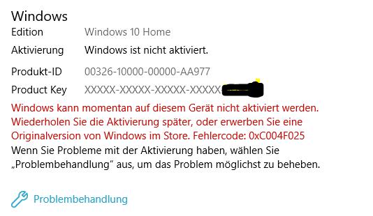 Aktivierung von Windows 10 nach Hardwaretausch