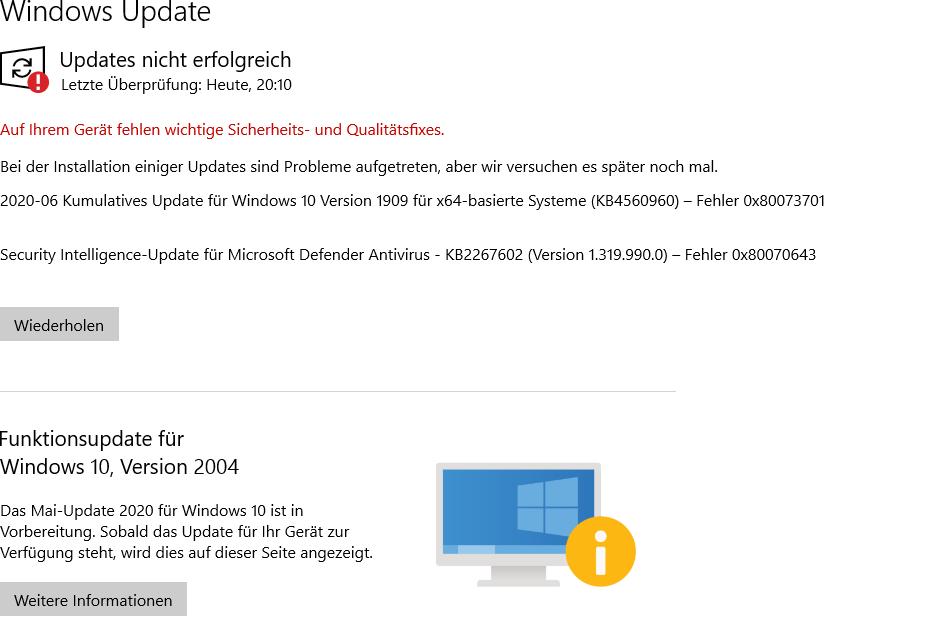 KB2267602 Version 1.319.1990.0Installationsfehler – 0x80070643,  KB4565483 Fehler 0x80073701