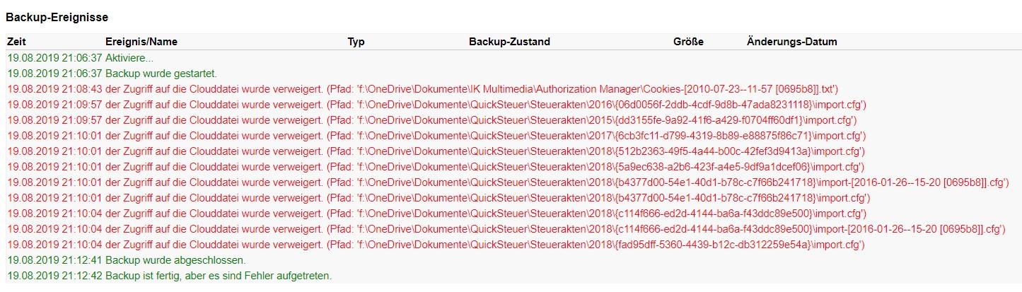 Zugriff auf lokale OneDrive Dateien verhindert