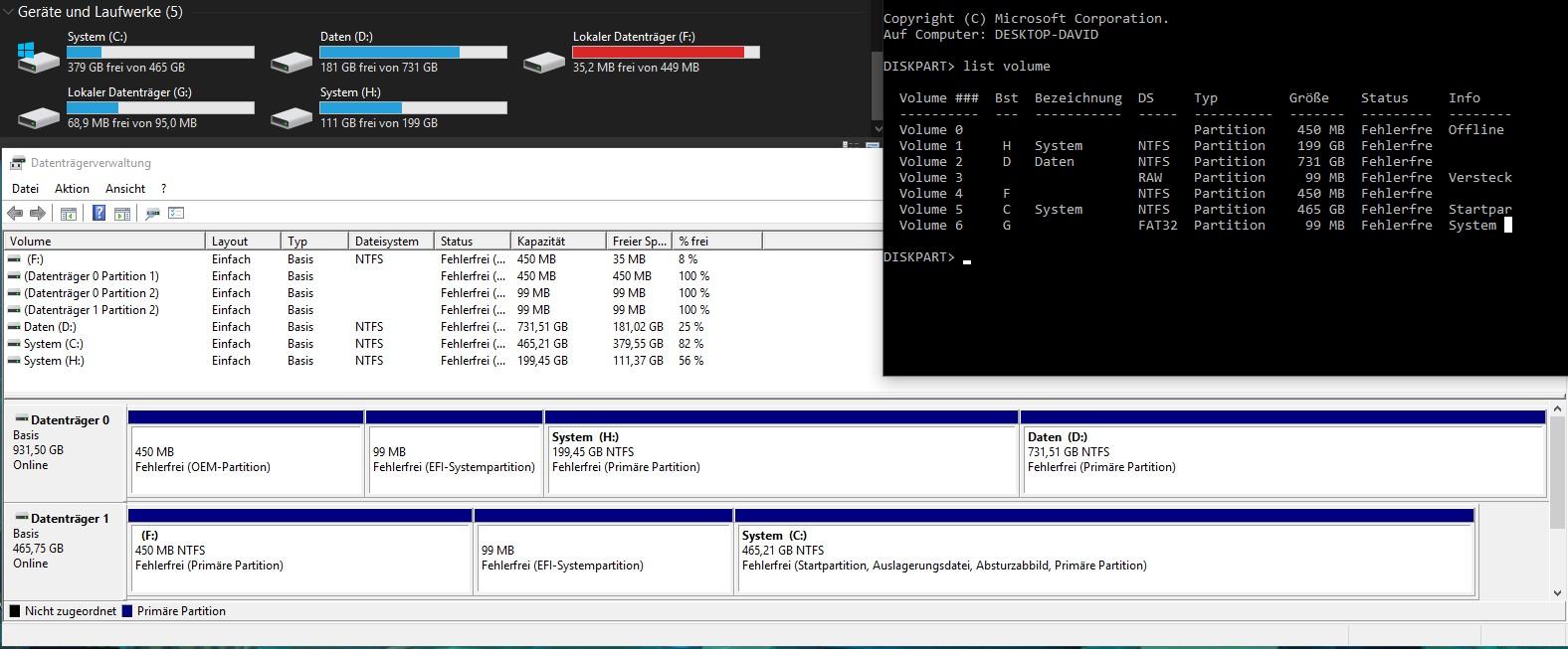 OEM-Partition wurde zu Primär Partition nach Migration von HDD auf SSD
