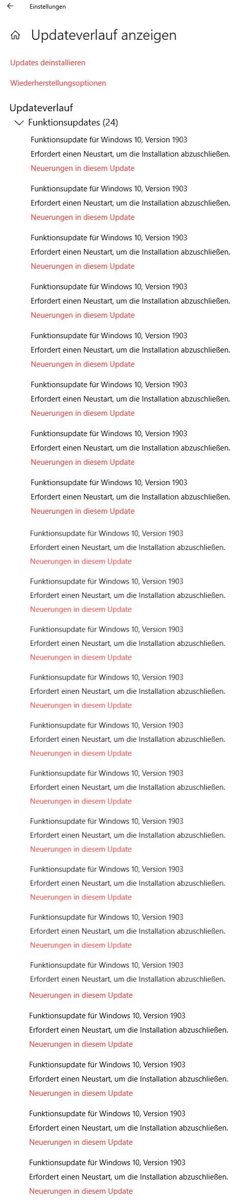 Funktionsupdate für Windows 10, Version 1903 Wie oft muss ich neustarten?