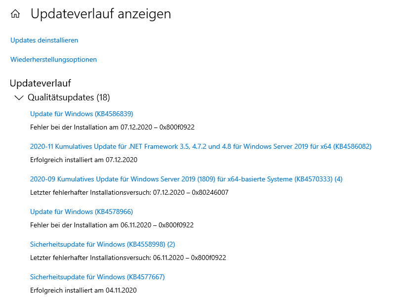 Windows Server 2019 - update error - 0x800f081f