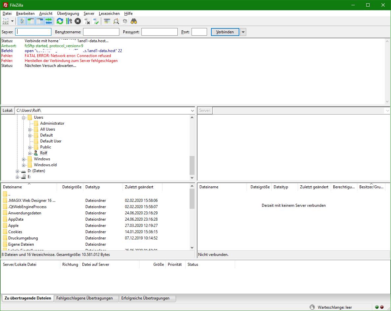 Keine ausgehende SFTP-Verbindung von fast neuem Win10-PC weitestgehend Werkseinstellungen...