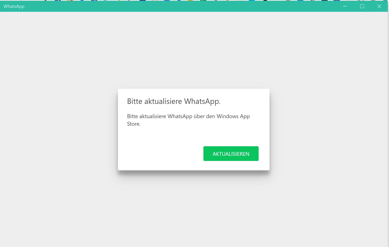 WhatsApp Desktop startet nicht, fordert Update