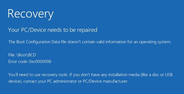 Windows 10/Surface: Bootfehler 0xc0000098