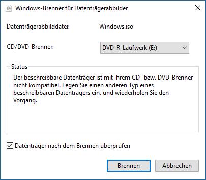 Welche  DVD-Medien sind unter April 2018 Update, Version 1803, Build 17134.5 noch kompatibel?