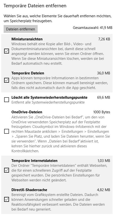 Windows 10 Speichernutzung/Temporäre Dateien