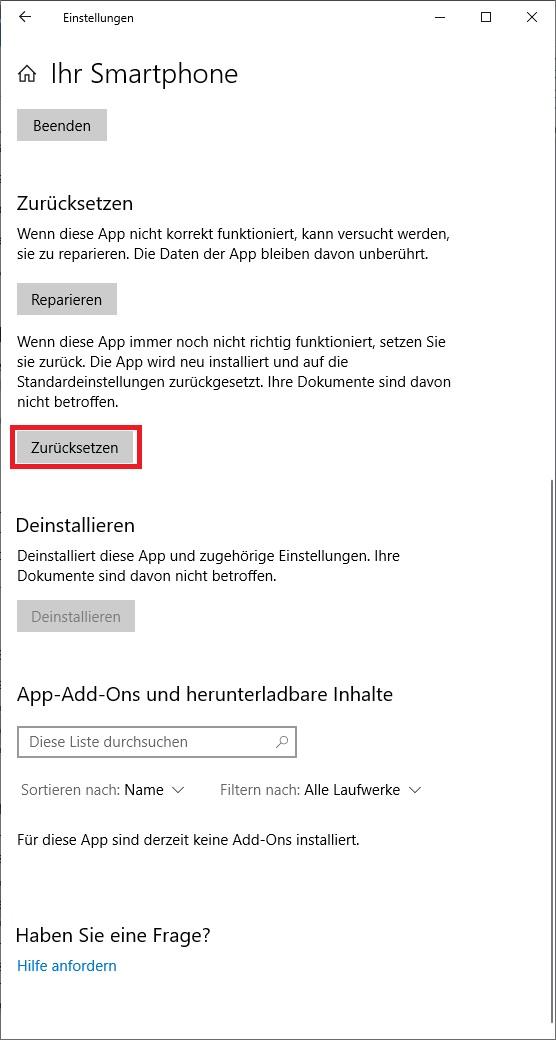 """App """"Ihr Smartphone"""" startet nicht."""