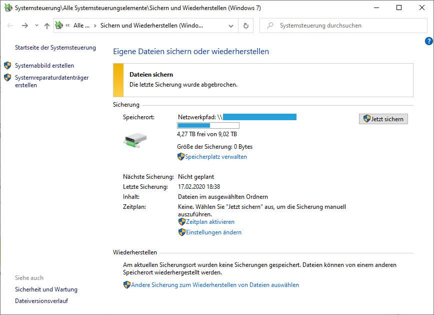 """Sicherungsplan aus """"Sichern und Wiederherstellen Windows 7"""" entfernen."""