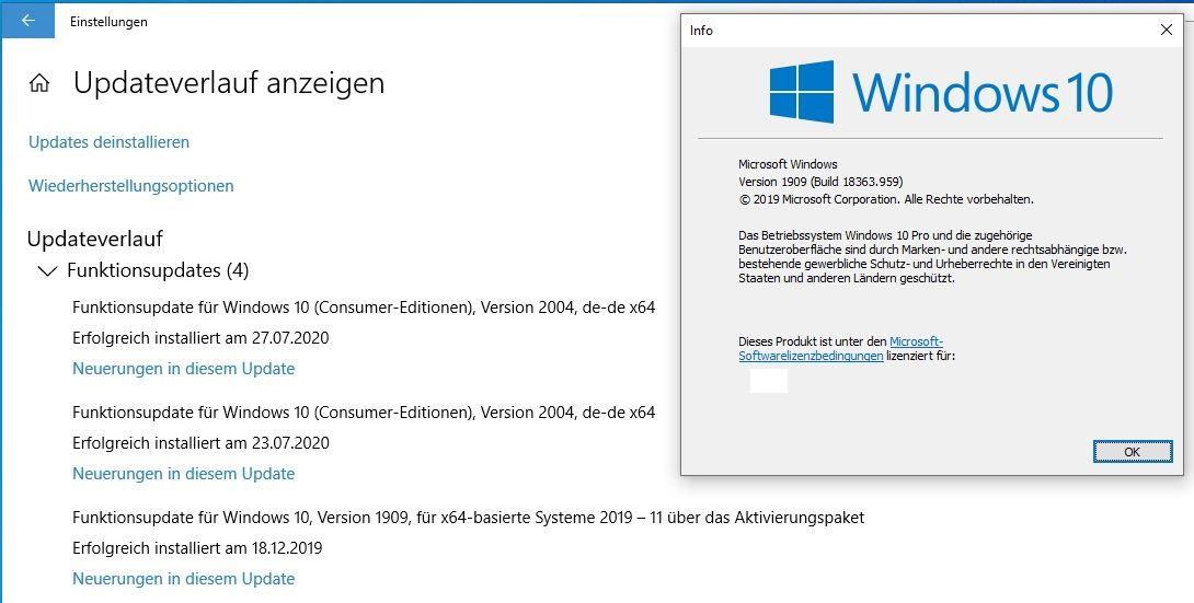 Windows 10 2004 Upgrade nicht möglich