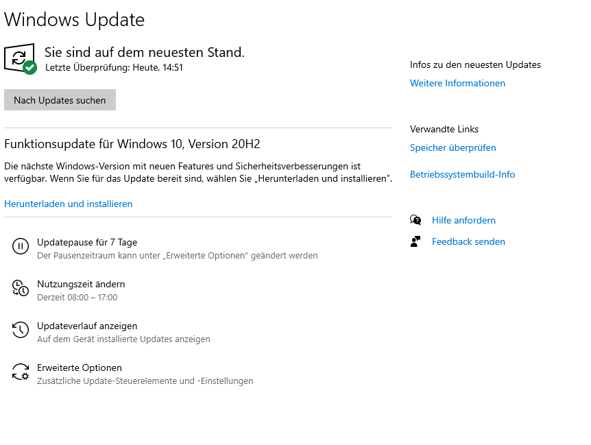 Funktionsupdate Version 2004 und 20h2