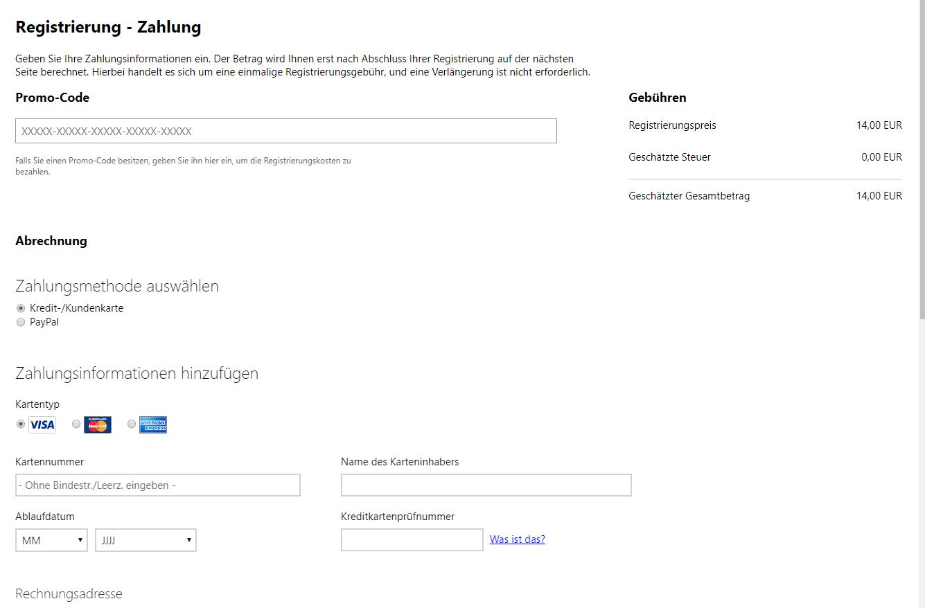 Microsoft Entwickler Konto