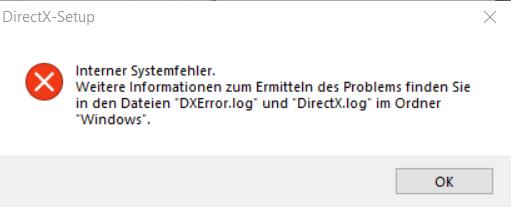 DirectX Setup interner Fehler