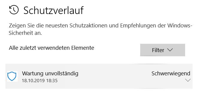 """Windows Defender zeigt """"Wartung unvollständig"""" bei Trojaner Win32/Conteban.B!ml an"""