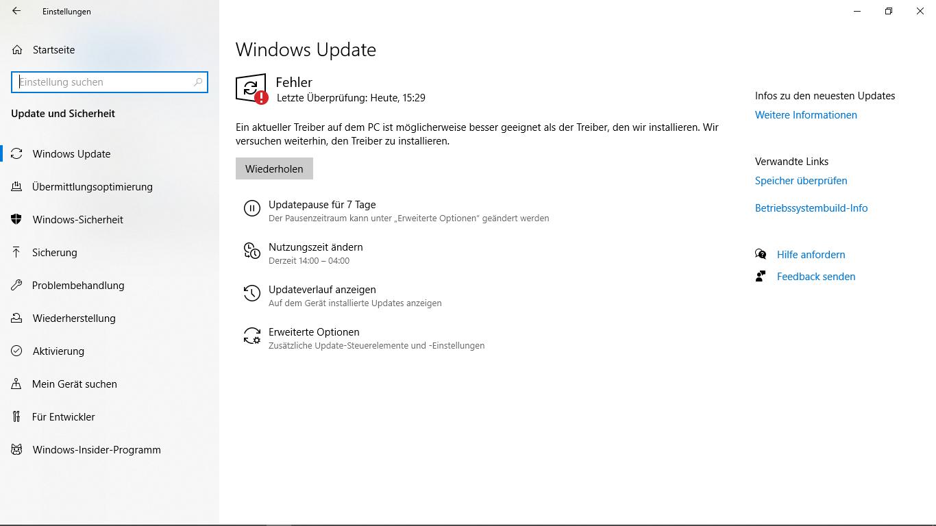 Win Update Fehler seit neuen Update
