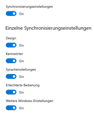 Design-Synchronisation funktionert bei Build 17763.292 nicht