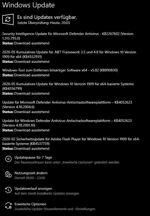 Windows Update Status Download ausstehend