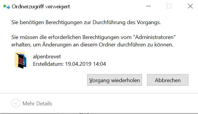 Zugriff verweigert bei Datei-Operationen
