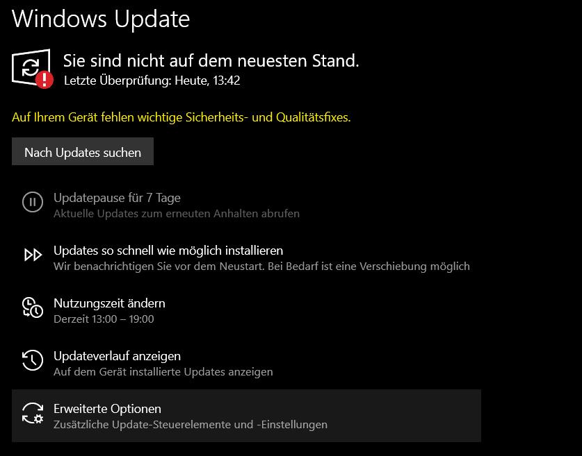 Warnung Updates fehlen, werden aber nicht angezeigt