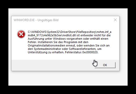 Windows 10 Fehlermeldung 0xc000020