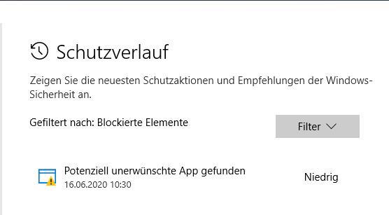 """Windows Defender Meldung """" unerwünschtes Programm """""""