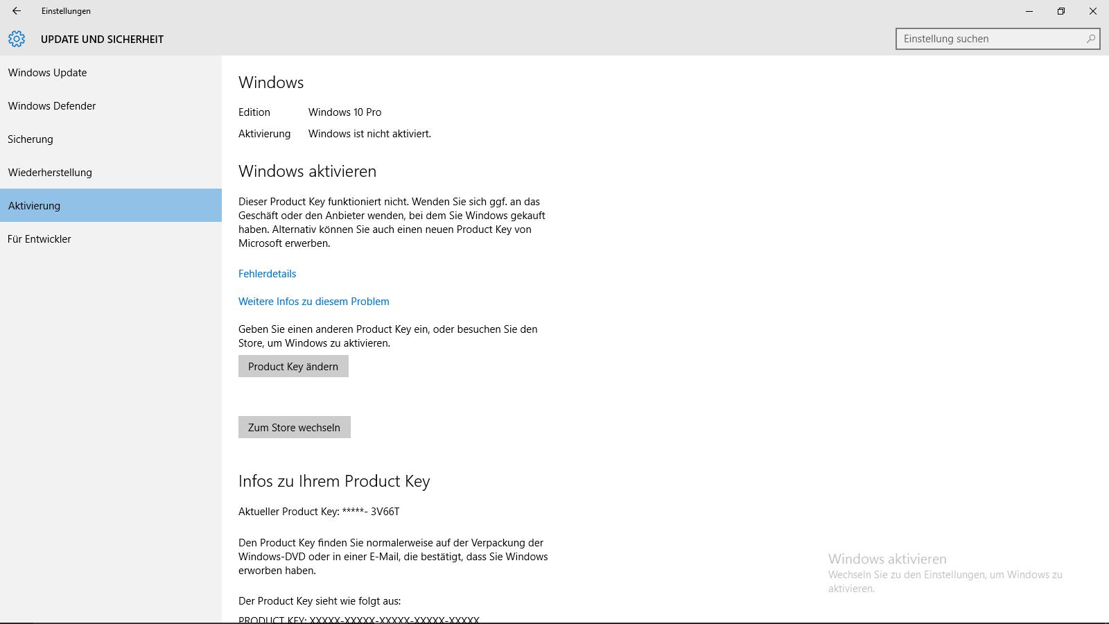 Windows 10 pro lässt sich nicht aktivieren