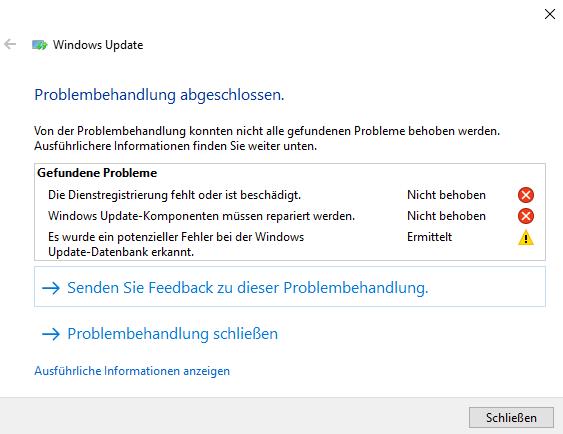 Windows Update von 1803 auf neuere Versionen nicht möglich