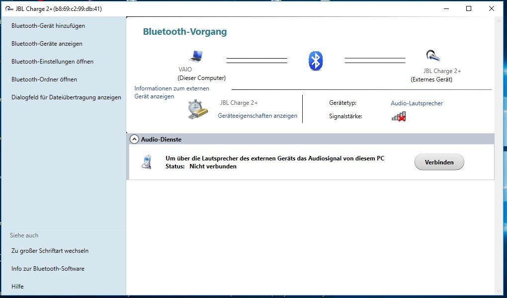 Bluetooth-Gerät spezifisches Bluetooth-Menü und Lösung zur Verbindung mit Bluetooth...