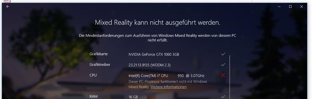 Windows Mixed Reality am Intel Core i7-950