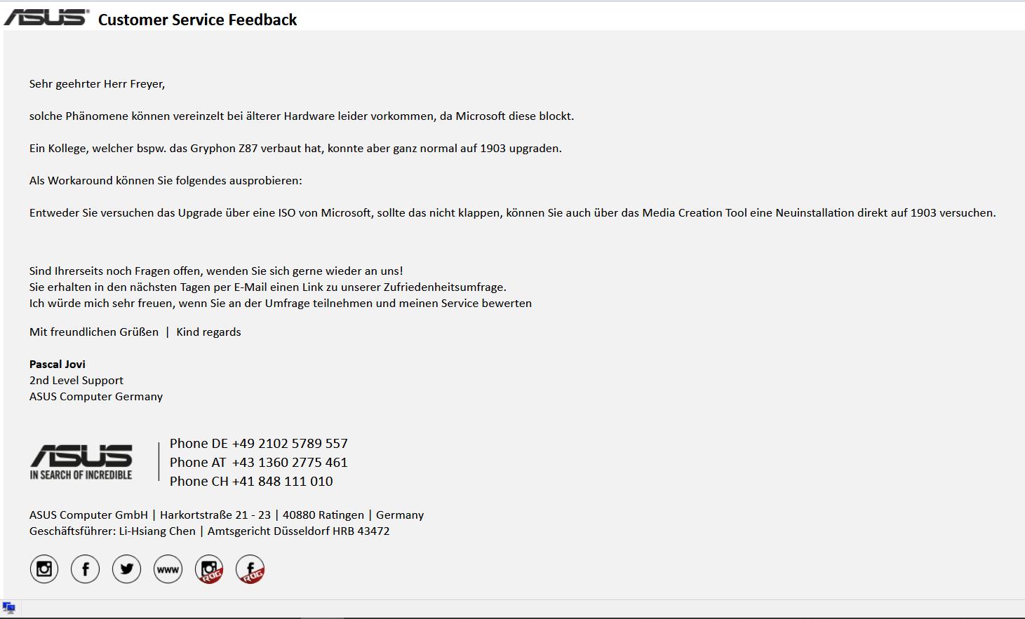 Upgrade 1809 --> 1903 von Windows 10