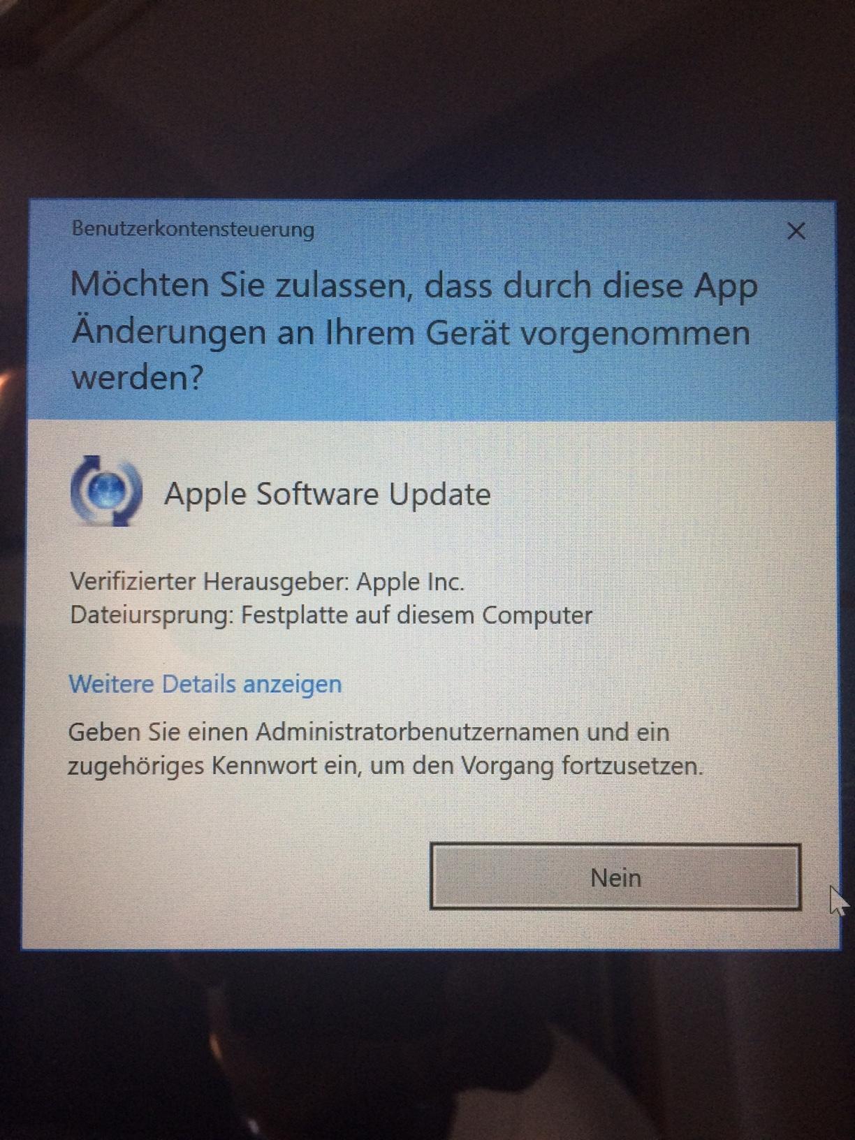 Benutzerkontensteuerung WIN 10 lässt keine Auswahl mehr bei Updates zu, nur NEIN???