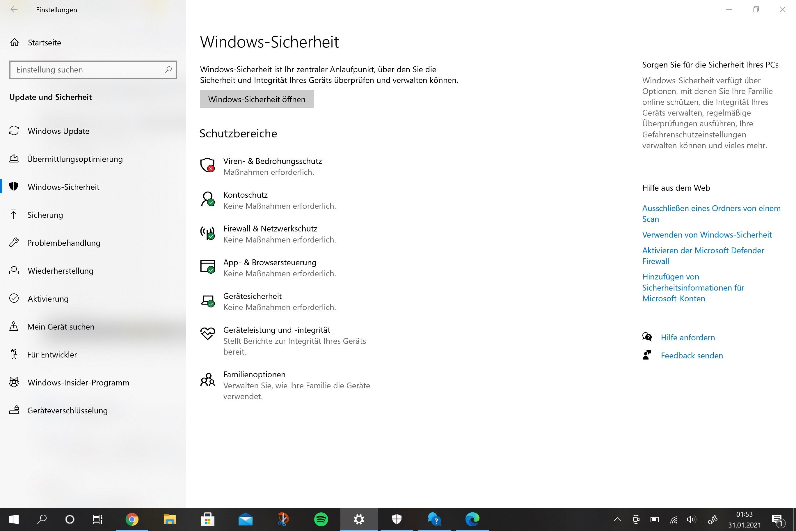 Windows-Sicherheit; Viren- & Bedrohungsschutz; Schutzverlauf