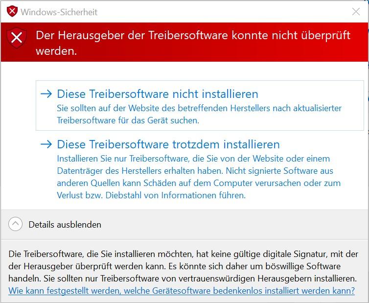 Windows-Sicherheit Treibensoftware