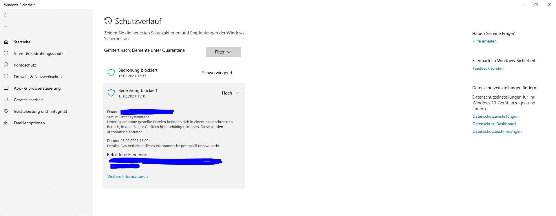 Windows Defender Dateien aus der Quarantäne zurückbewegen - Keine Aktionen möglich