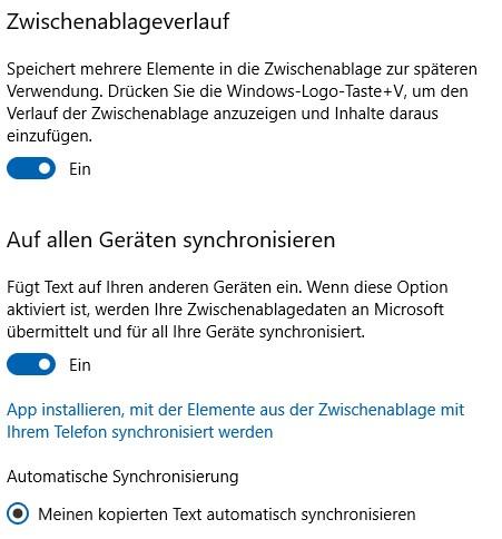 Synchronisierung des Zwischenablageverlaufs ZAV über 2 Win10 PCs