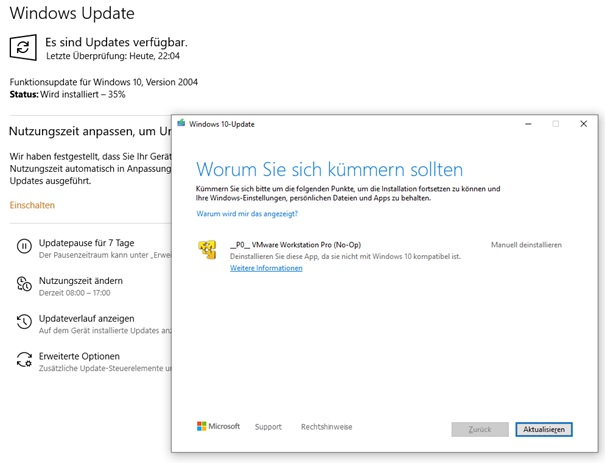 Win10 Update Version 2004 - Problem mit VM Ware Workstation Pro