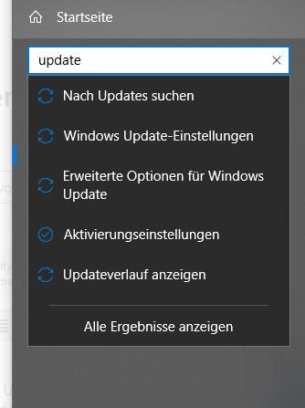 """""""Nach Updates suchen"""" nicht mehr vorhanden"""