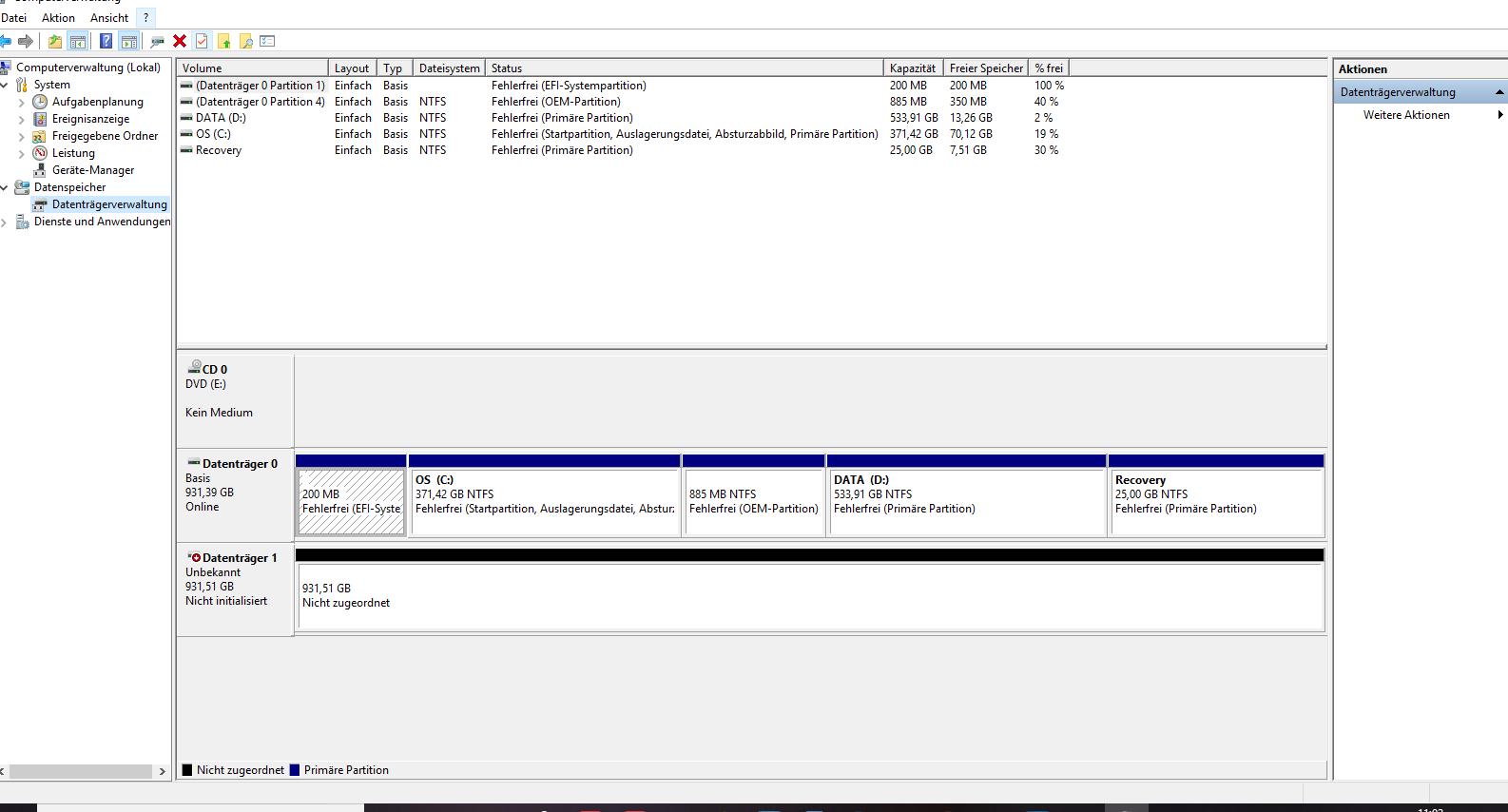 USB Anschluß in meinen Laptop gesteckt, allerdings wird die Externe nicht in der Liste aufgeführt