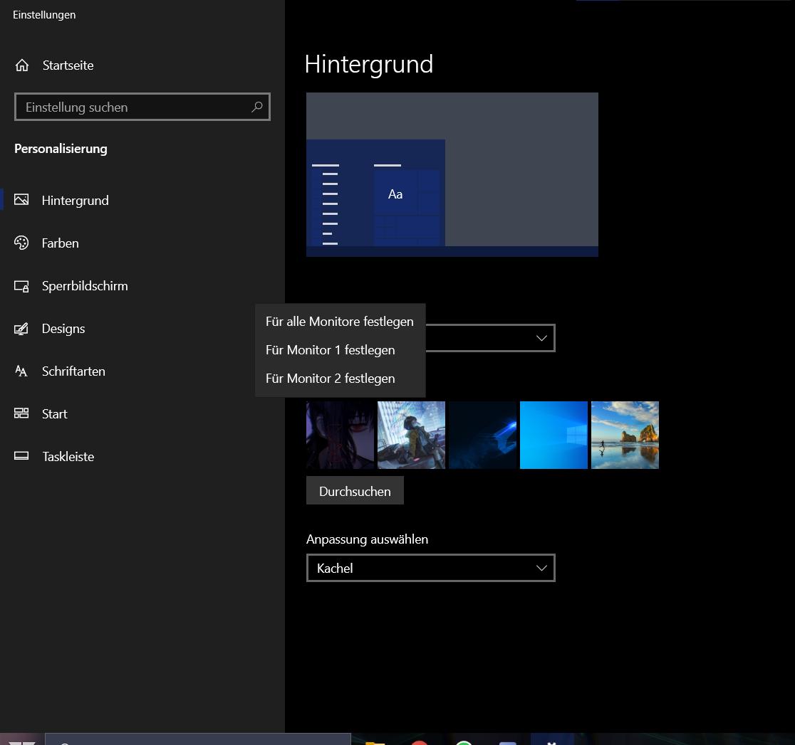 Windows 10 verschiedene Desktop Hintergründe nicht setzbar [verbuggt]