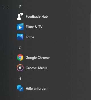 Program Icons missing in Windows search after system reset