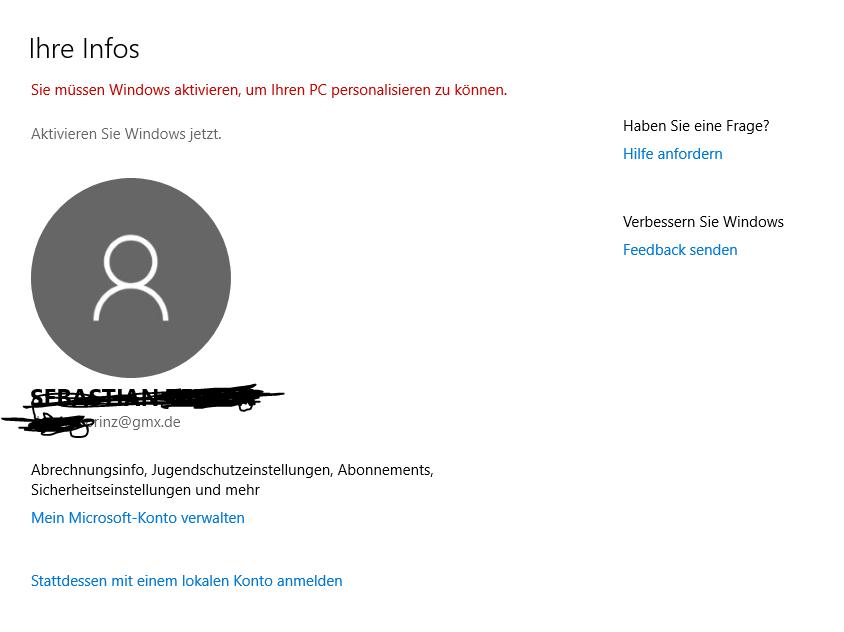 Windows 10 Aktivierung ist leer?