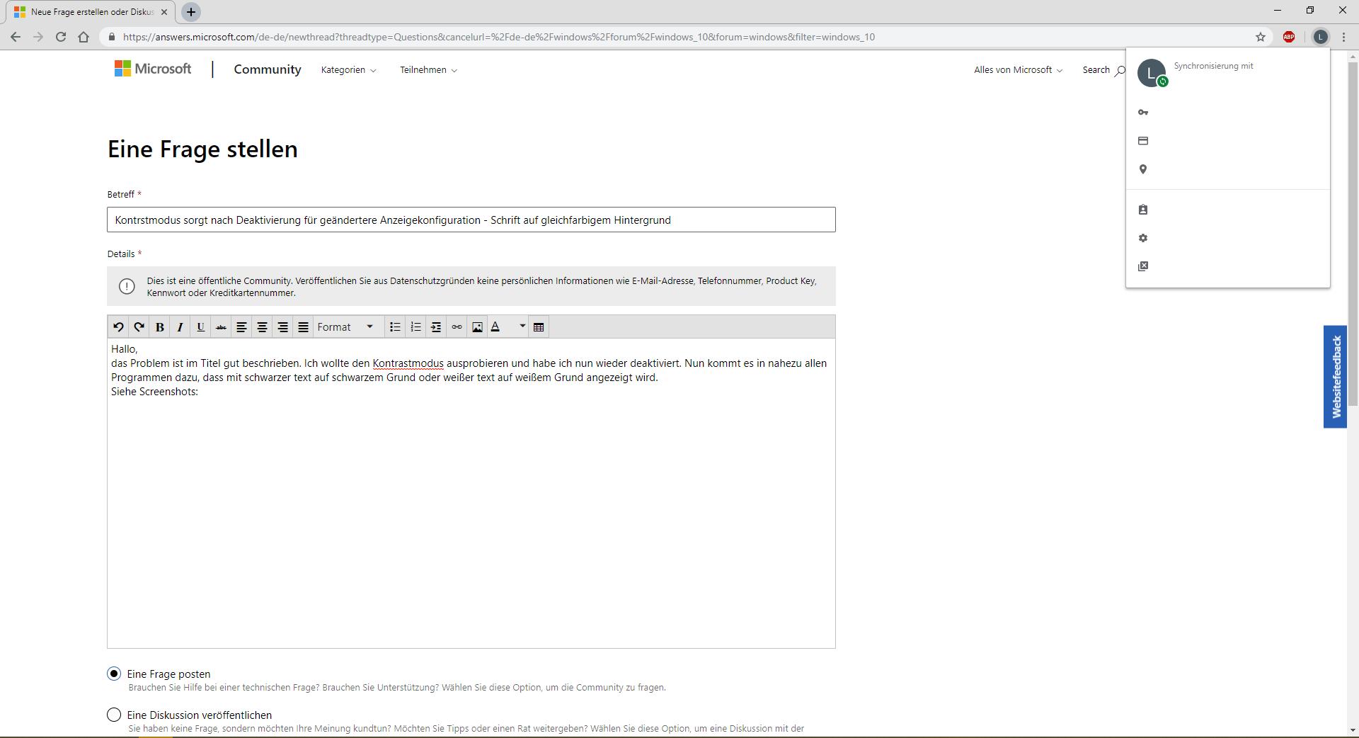 Kontrastmodus sorgt nach Deaktivierung für geändertere Anzeigekonfiguration - Schrift auf...