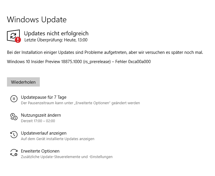 Windows 10 Insider Preview 18875.1000 (rs_prerelease) – Fehler 0xca00a000