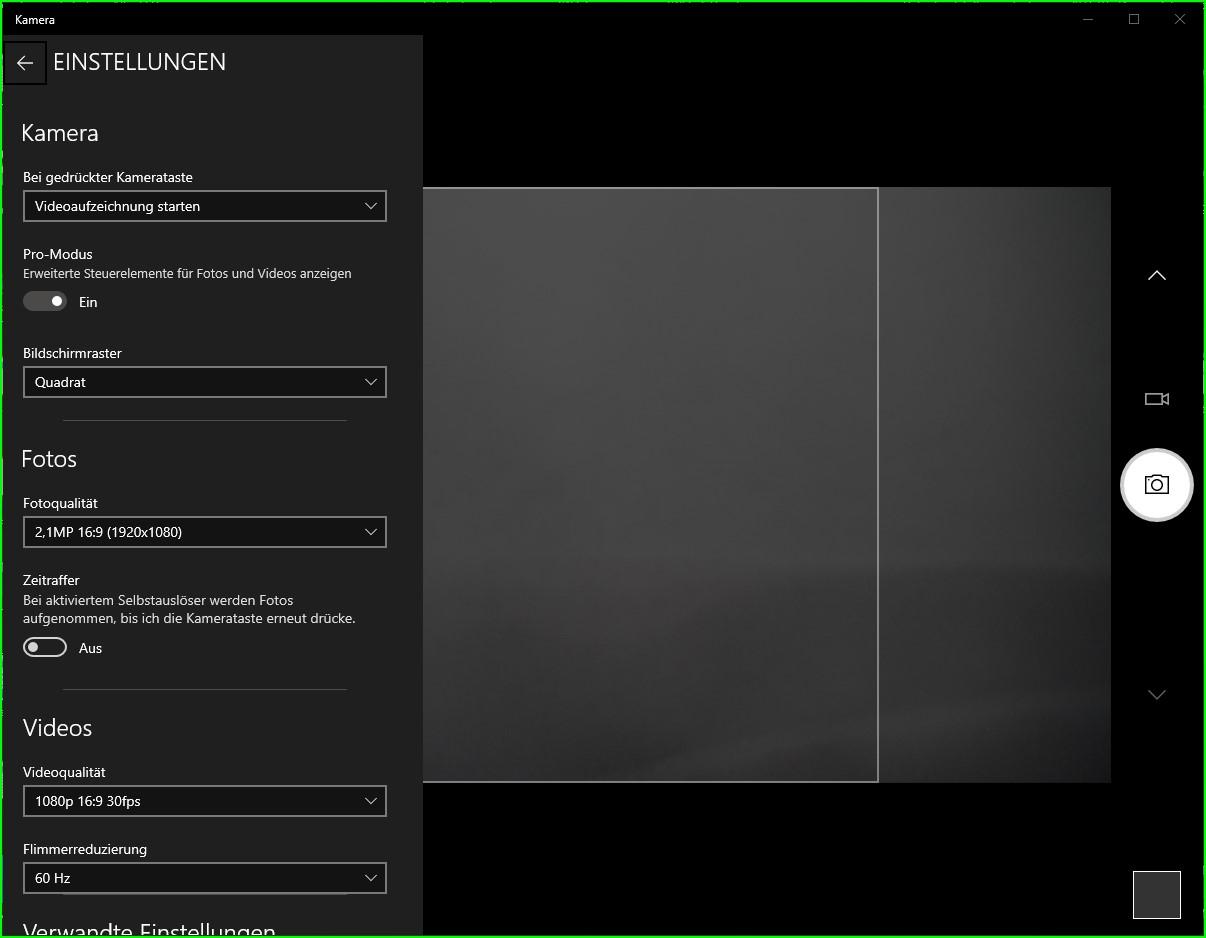 Webcam System-Einstellungen