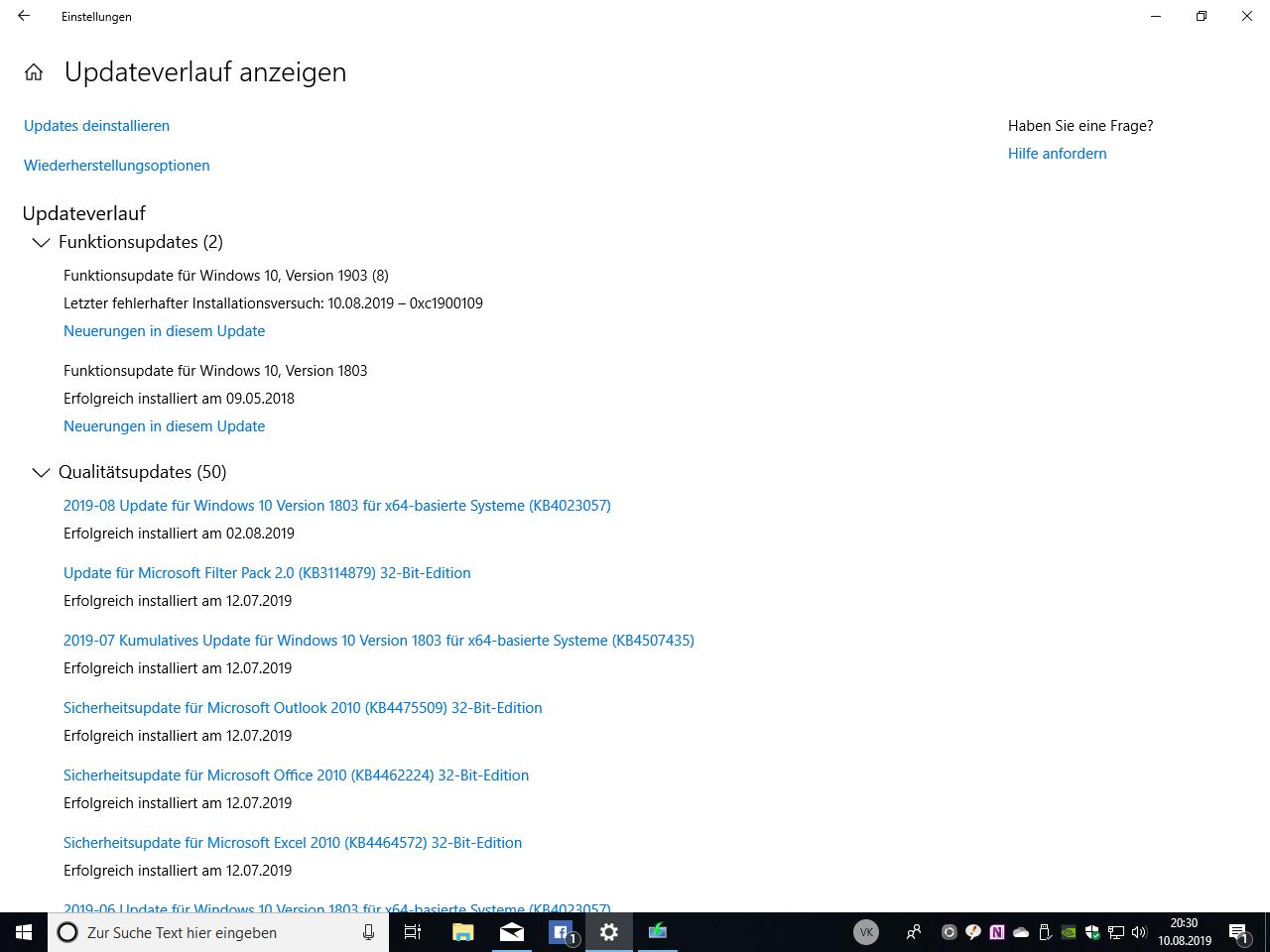 Warum lässt sich das Funktionsupdate 1903 nicht installieren (letzte Version 1803)