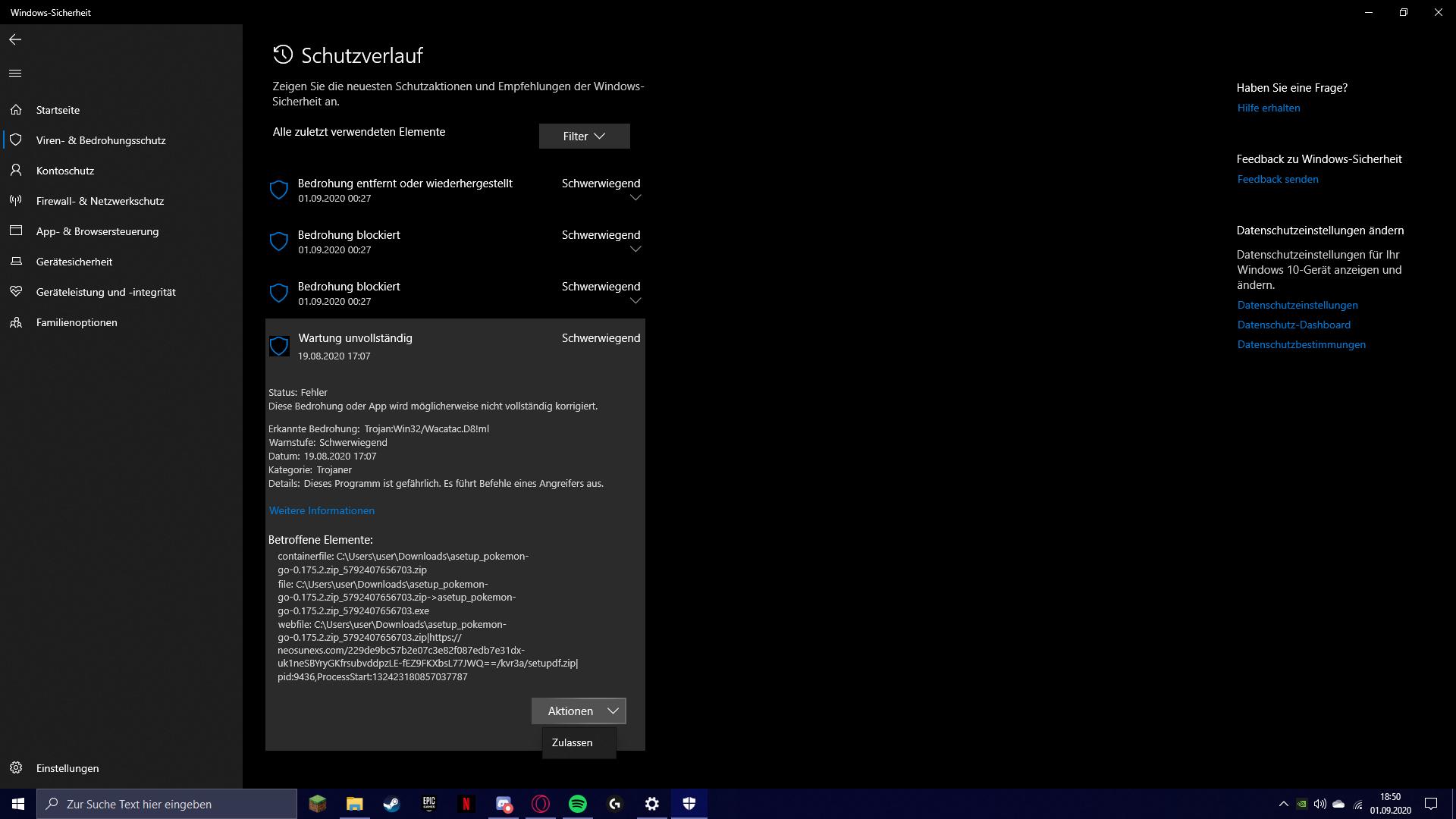 """Windows Defender zeigt """"Wartung unvollständig"""" bei Trojaner"""