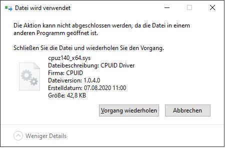 Bluescreen nach Funktionsupdate Version 2004 - Fehlerursache cpuz140_x64.sys