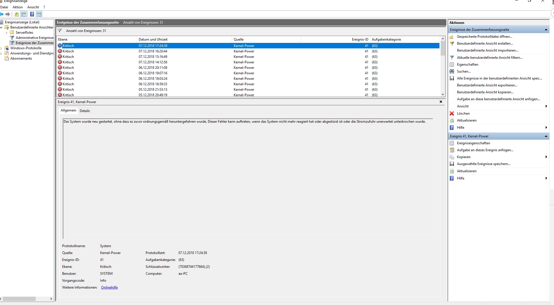 Bluescreen:  Pc startet unter Windows 10 alle 64 Minuten mit der Fehlermeldung Kernel-power neu